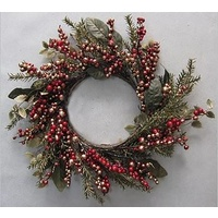 Gold & Green Wreath with Red Berries 50 cm