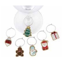 Christmas Cookie Wine Charms Set 6