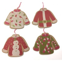 16 Craft gift tags with 4 assorted sweaters
