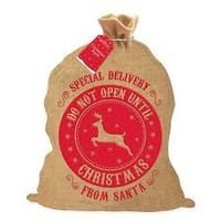 "Hessian Santa Sack  ""Do Not Open Until Christmas"""