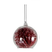 8 cm clear galss ball with wire red