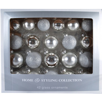 42pce Assorted Glass Balls Ð Silver