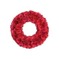 Carved Wooden Rose Wreath 30 cm (S)