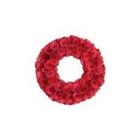 Carved Wooden Rose Wreath 43 cm (L)