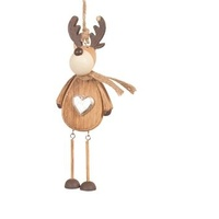 Natural Timber Reindeer with Heart 6.5 x 16 cm