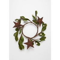 Eucalypt Candle Ring with Stars and White Berries