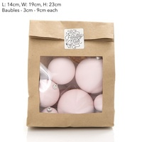 Glass Bauble Bag Assorted Sizes Pink