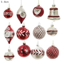 12 Glass  Bauble Box Set Vintage Red