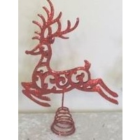Reindeer Tree Topper Glitter Red
