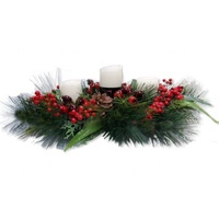 3  Candle &  Red Berries Centrepiece 66 cm.