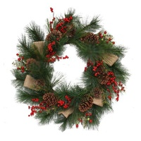 Burlap Bow , Berry &Pinecone  Wreath 60 cm