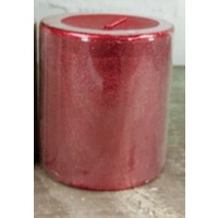 7 X 7.5 cm  Metallic Christmas Candle Red