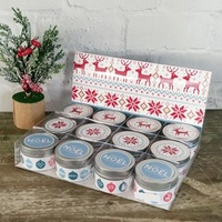 6x4 cm Christmas Print Tin Candle - Berry Persimmon