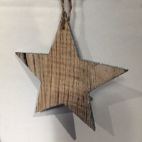 Nordic timber star with silver edge 11 cm
