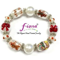 Hand Painted Christmas Bracelet White Gingerbread