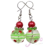 Christmas Earrings Green Red Dots