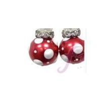 Christmas Earings Red with White Spots