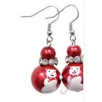 Christmas Earrings Red Snowman