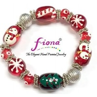 Hand Painted Christmas Bracelet Red
