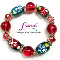 Hand Painted Christmas Bracelet Red Green