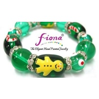 Hand Painted Christmas Bracelet  Green