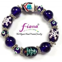 Hand Painted Christmas Bracelet Blue