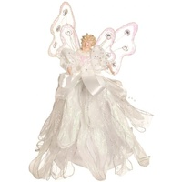 White Angel Doll With Ribbon Tree Topper 30 cm