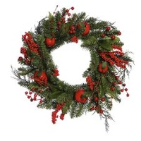 Red Apple and Berry Green Wired Wreath 40cm