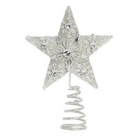 Silver  Jewelled  Small  5 Pt Star 18 cm inc spring