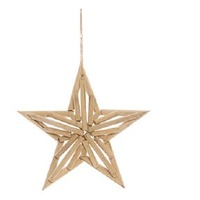 Timber 5 Point Twig Hanging Star  30cm