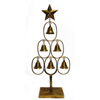 Gold 6 Bell Tree with Star 53CM
