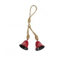 2 x Red Metal  Bells with White Embossed Pattern on Rope