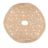 120CM Hessian Tree Skirt with  White Stars