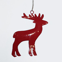 Gloss Red Reindeer Hanging 10CM H