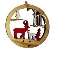 Open Timber Bauble With Reindeer & Tree 7CM