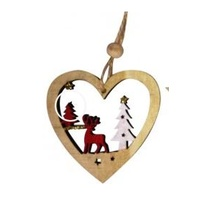 Open Timber Heart With Reindeer & Tree
