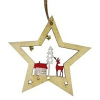 Open Timber Star With Reindeer & Tree