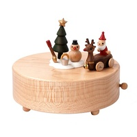 Santa & Reindeer Wooden Music Box