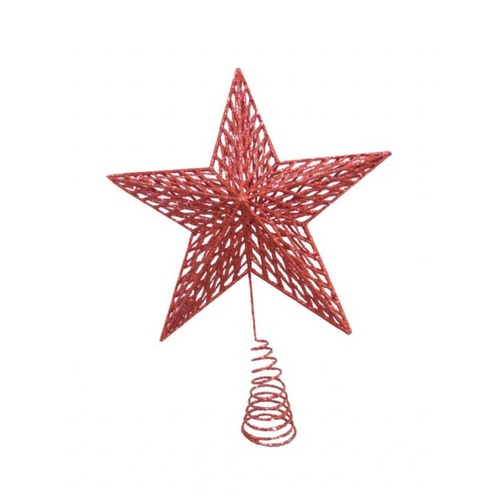 Red Glitter Star Tree Topper 32 cm