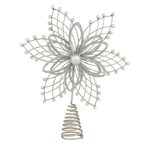 Poinsettia Silver  With Beads Tree Topper 31 cm