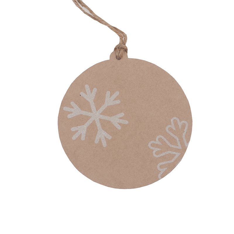 5 glitter snowflake natural gift tags round 8cm