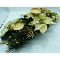 Gold Flower and Berry with Greenery 3 candle Centrepiece