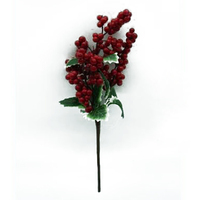 Red Berry and Variegated Leaf Pick 30cm
