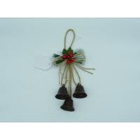 Antique Bells  with Berries and Twine 12cm