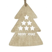 Jolly Hanging Dec Wooden Tree - Merry Xmas