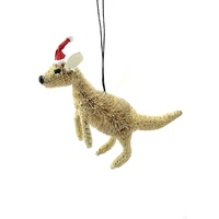 White Kangaroo Australian Christmas Bristle Decoration 9cm