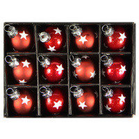 12pc Red with Silver Star 3cm glass balls