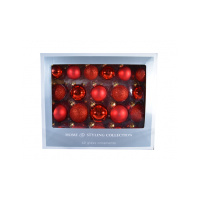 42pce Red Glass Balls assorted in box