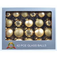 42pce Gold Glass Balls assorted in box