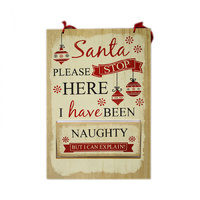 Naughty and Nice Natural MDF Sign 20 x 30